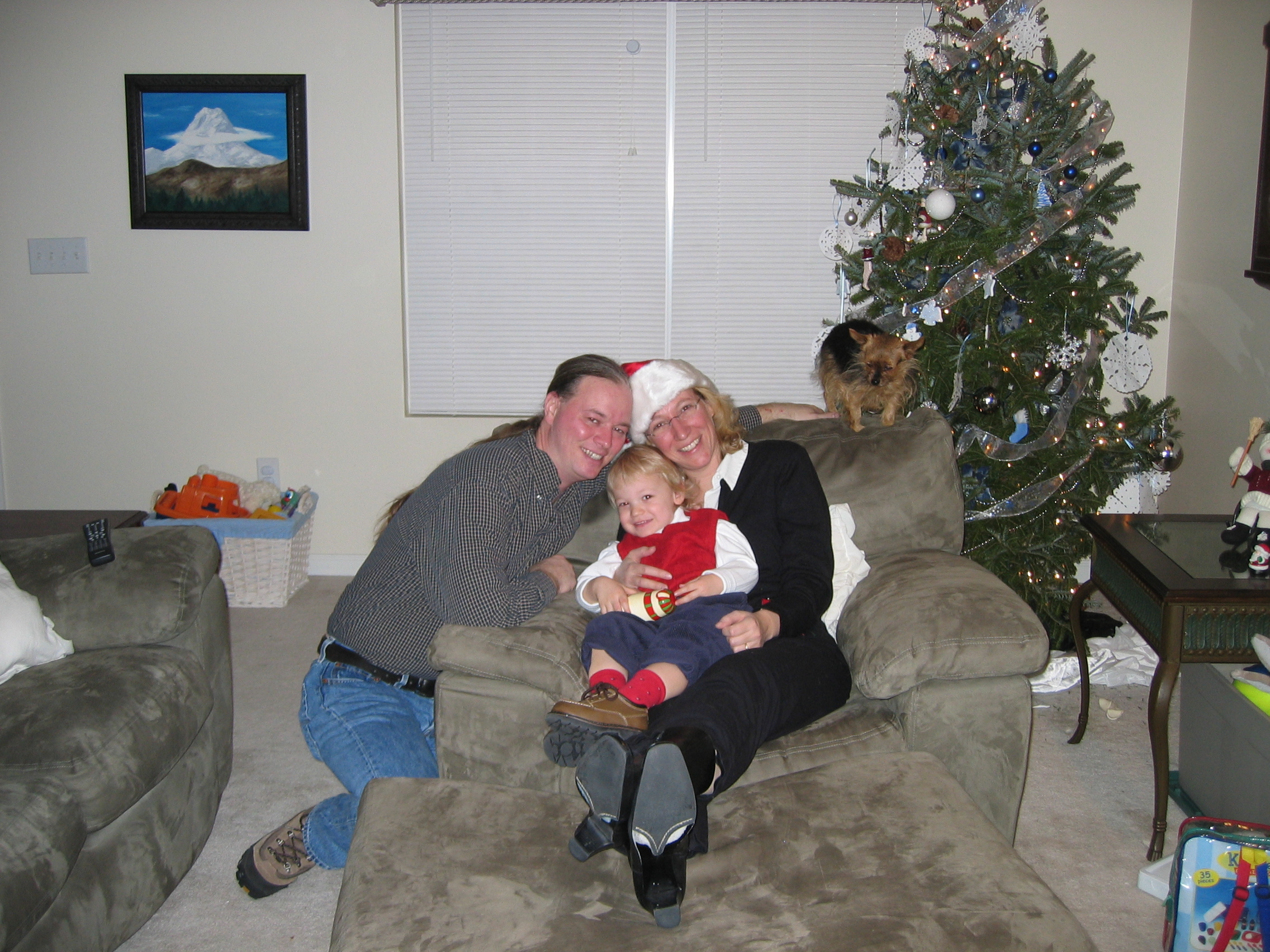 Christmas...and here's the obligatory family photo.  Well, at least that fat man in the red suit isn't scaring me now.